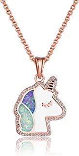 Unicorn Crescent Moon Pendant Necklace Rainbow Crystal and Glitter Opal Dream Star Series Magic Necklaces Jewelry Christmas New Year Gift for Women Girls Kids