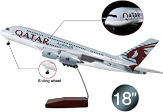 Lose Fun Park 18 Inch(46cm) LED Light 1:160 Model Airplane Qatar Airbus 380 with Landing Gear Aircraft for Gift or Decoration