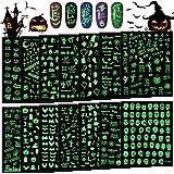 14 Fogli Halloween Luminosi Adesivi per Unghie,TOROKOM Autoadesivo 3D Adesivi per Unghie Pipistrello Teschio Ragno Zucca di Halloween, Decalcomanie fai da te Decorazione di Halloween