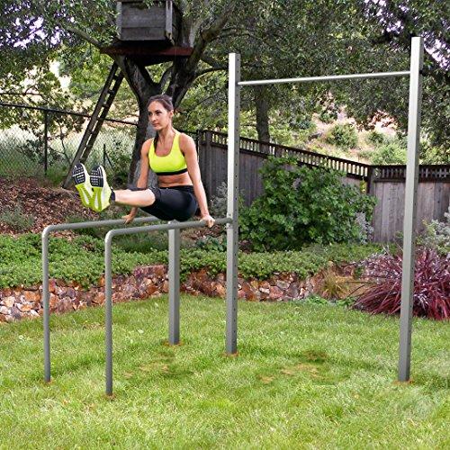 TOLYMP Outdoor-Turngerät Fitness-Station Dip Buin hochwertig und stabil aus V2A-Edelstahl mit Dip-Barren, Einer vielfach verstellbaren Turnstange