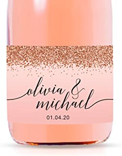 Andaz Press Personalized Mini Champagne Wine Bottle Wedding Favor Labels, Olivia & Michael, Date, Blush Pink Faux Rose Gold Glitter Elegant, 20-Pack, Custom Party Favor Gift Label Stickers