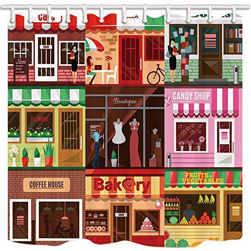 123456789 Urlaub Duschvorhänge, Verschiedene Geschäfte in der Straße Pizza Bücher Blumen Süßwarenladen Kaffeehaus Bäckerei Früchte Polyester Stoff Bad Gardinen für zu Hause Badezimmer,