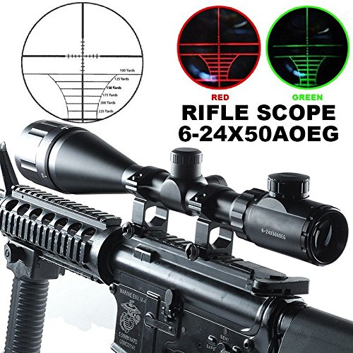Sale!! Gazelle Trading Aukmont AOE Red Green Mil-Dot Illuminated Optics Hunting Rifle W/Rings 6-24x5...