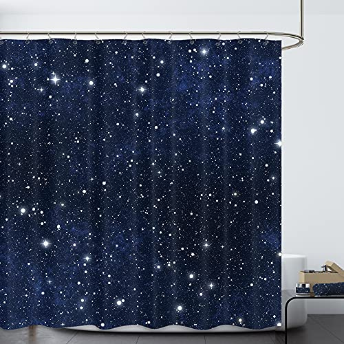 Riyidecor Night Sky Star Space Shower Curtain (No Glitter) Backdrop Dark Blue Cosmic Starry Fantasy Galaxy Universe Space Fabric Waterproof Bathroom Home Decor 72x72 Inch 12 Plastic HooksRY-KKCQ