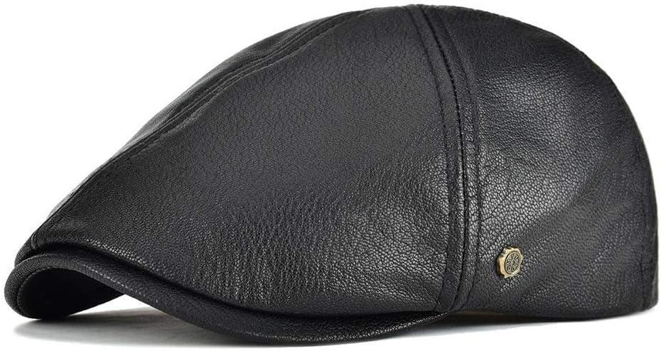 154 YXHUI Echtes Leder Flatcap 6 Panel Design-Barett-Hut M/änner Frauen Ballon Farbe : L Brown, Hat Size : 57 to 58 cm