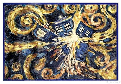 Close Up Doctor Who Poster Exploding Tardis (63,5x94 cm) gerahmt in: Rahmen blau