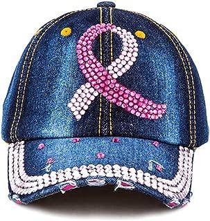 Crazy4Bling Dark Blue Denim Pink Ribbon Embelished Two Tone Pink Studded Accent Design Cap Hat