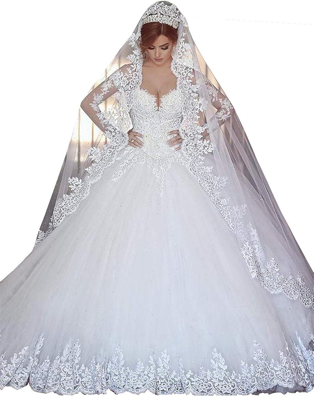 Changjie Women's Long Sleeve Wedding Dresses Lace Applique Bridal Ball Gown