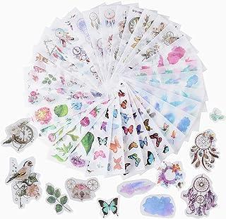 JNCH 30 Feuilles Autocollants Stickers Motifs Plantes Fleurs Papillon Gommettes Décoratifs Cartoon Etiquettes Adhésif Deco...