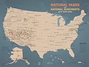 Best Maps Ever US National Parks & Monuments Map 18x24 Poster (Tan & Slate Blue)