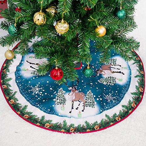 JCT Weihnachtsbaumdecke Weihnachtsdeko Weihnachtsbaum Rock 90CM Christmas Tree Skirt Christbaumständer Teppich für Weihnachtsschmuck Weihnachten Ornamente Deko