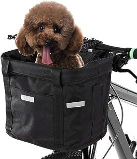 Hamkaw Dogs Carrier Bike Basket - Folding Removable Pet Cat Dog Bike Bag - Dog Bicycle Front Basket Bike Handlebar Basket - Quick Release Easy Install Detachable Cycling Bag Mountain Picnic Shopping