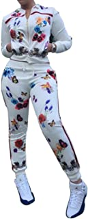 FOUNDO Women's Floral Tracksuit Jacket and Pants 2 Piece Sports Joggers Jog Set