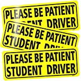 BOKA Student Driver Magnet for Car, 3 Pcs High Reflective Vehicle Bumper Magnet Safety Sign, Stronger Magnetic Bumper Sticker for New Driver Novice in Yellow, Easy to Notice (Upgraded of Large Font)