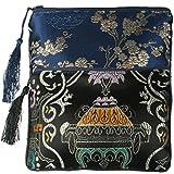 kilofly 2 pc Chinese Silk Brocade Padded Tassel Zipper Jewelry Bag Gift Pouch