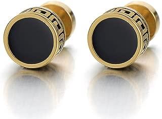 Vintage Black Enamel Gold Circle Stud Earrings for Men Women Steel Cheater Fake Ear Plugs Gauges