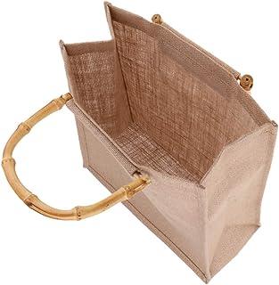 IPOTCH Outing Portable Burlap Jute Shopping Handbag Bamboo Loop Handles