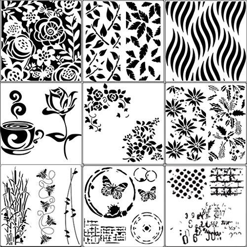 JIACUO 9 Stks Tekenen Airbrush Schilderen Stencil DIY Craft Album Scrapbooking Ornamenten