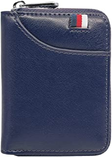 Hibate 12 Cards Slots Leather Credit Card Holder Wallet RFID Blocking for Men Women Business ID Case Zipper Pocket Purse - Blue