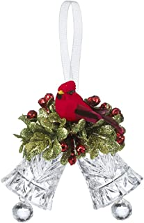 Kissing Krystals Christmas Ornament - 3x3 Inch Acrylic Bells with Cardinal and Mistletoe