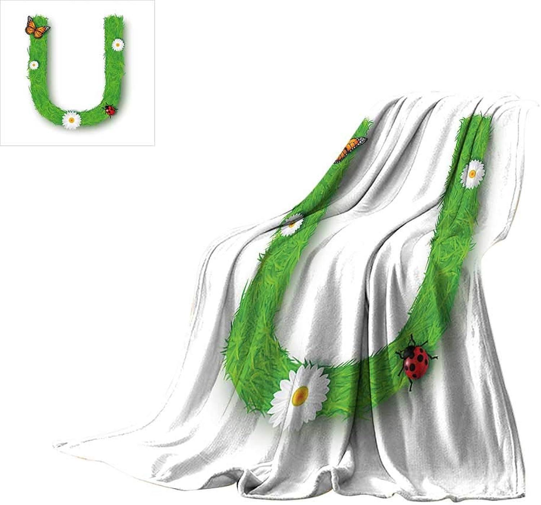 Letter U,Blankets Capital U with Daisy Petals Ladybug Garden Blossoms Girls Nursery Theme Lightweight Plush Throws W60 x L50 inch
