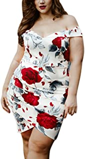 fcadadf710e Syban Fashion Women Rose Print Floral Plus Size V-Neck Asymmetrical Mini  Dress XL-
