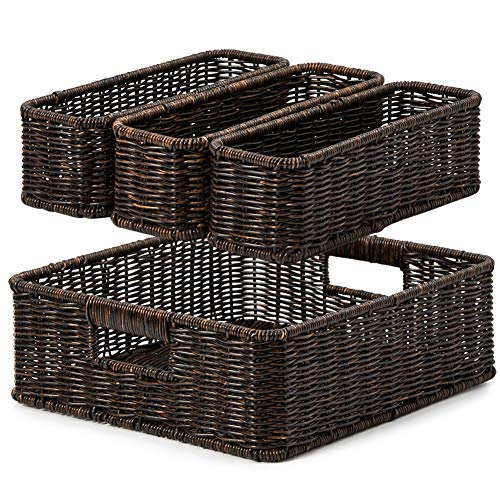 EZOWare 4 Piece Resin Woven Storage Basket Set, Decorative Wicker Tray Shelf Drawer Organiser Bin Containers for Kitchen, Living Room, Bathroom, Bedroom - 2 Sizes, Dark Brown