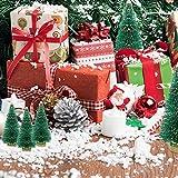 DECARETA 35 Stück Künstlicher Weihnachtsbaum, Mini Grün Tannenbaum, 4.5/6.5/8.5/12.5cm Naturgetreuer Christbaum für Tischdeko, DIY, Schaufenster (Grün) - 5