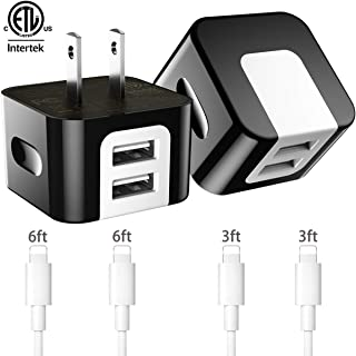 Dodoli [6-Pack] Phone Charger, (6FT+6FT+3FT+3FT) Extra Long Fast Charging & Sync Cable with 2 X 2.4A Dual Port USB Wall Charger Plug Adapter Compatible with iPhone Xs Max XR X 8 7 6S 6 Plus SE 5S iPad