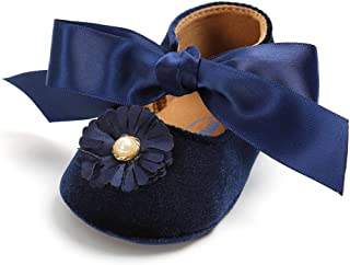 Baby Girls Mary Jane Flats Infant Non-Slip Bowknot Ballet Slippers Newborn Princess Dress Wedding Shoes Toddler First Walkers