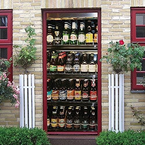 SONYUN Pegatinas Puertas Adhesivo 95X215cm Botellas De Vino Coloridas del Refrigerador Creativo Murales para Puertas 3D para Papel Pintado Autoadhesivo, Impermeable Papel Pintado Puerta Mural Puertas