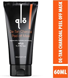 QLO De-tan Charcoal Peel off Mask - For All Skin Types with Plant Extracts, Collagen Peptide, For Men & Women (60ml)