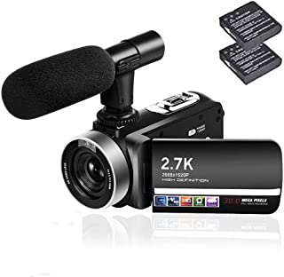 ビデオカメラ 2.7K デジタルカメラ 外付けマイクIR夜視機能予備バッテリーあり日本語取扱説明書3000万画素