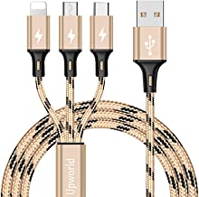 Multi USB Cable, Upworld Multi Charger Cable with Micro USB Cable/USB Type C Cable Nylon Braided 3 in 1 Fast Charging Cord for Phone X 8/7Plus, Galaxy S8, Huawei, Moto, LG, Kindle, Tablets and More
