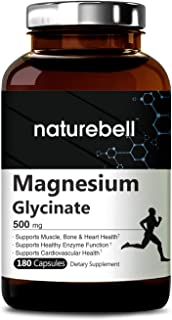 Maximum Strength Magnesium Glycinate 500mg, 180 Capsules, Supports Muscle, Bone, Joint, Heart Health, Enzyme Function, No GMOs, Made in USA