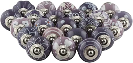 IndianShelf Handmade Assorted Pack of 30 Artistic Purple Knobs Design Drawer Knobs Handles Ceramic Cabinet Dresser Pulls Cupboard Vintage Mix Combo