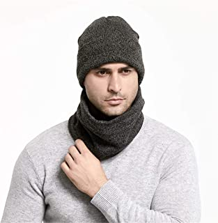 Knitted Hat Bib 2 Sets of Autumn and Winter Warm Beanie Running Cap Scarf