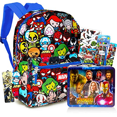 Marvel Kawaii Avengers Backpack Set Boys Girls Kids - 6 Piece Marvel Superhero School Backpack Bag Set with Snack Box, Pencils, Bookmarks, Stickers and More (Marvel School Supplies)