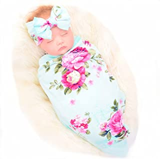 Newborn Receiving Blanket Headband Set Flower Print Baby Swaddle Receiving Blankets