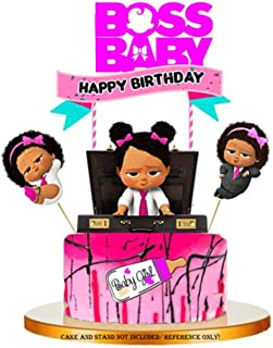 Jshend Baby Boss Pink Girl Cake Topper, Baby Shower Baby Theme Party Cake Toppers(BOSS2)