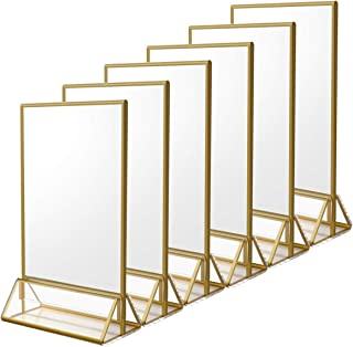 NIUBEE 6Pack 4 x 6 Clear Acrylic Sign Holder with Gold Borders and Vertical Stand, Double Sided Table Menu Holders Picture Frames for Wedding Table Numbers, Restaurant Signs, Photos and Art Display
