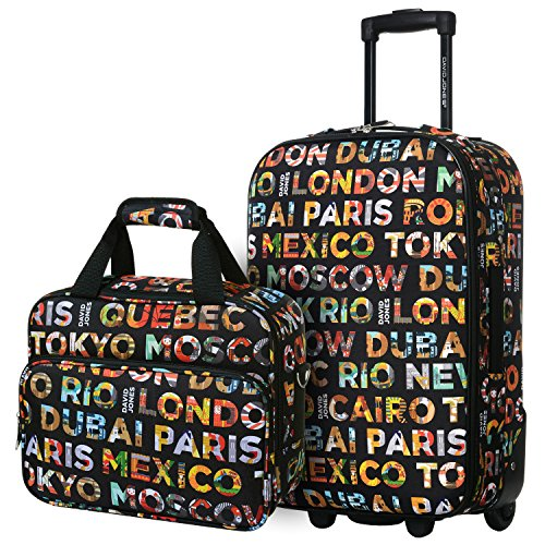 David Jones - Set Valise Cabine Souple Légère + Mallette Vanity - Toile Motif Multicolore - Bagage à Main Avion 55x35x20 - Lot...