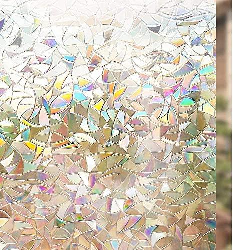 rabbitgoo Pellicola Privacy Pellicola per Finestre Vetri 3D Geometria Decorativa Autoadesive Anti-UV Controllo di Calore 44.5cm x 200cm per Casa Cucina Ufficio