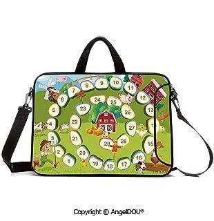 AngelDOU Notebook Bag for School Laptop Sleeve Messenger Bags Barn Rustic Farm Landscape Vegetables Nature Cow Pig Duck Farmer Boy Cartoon Dec PC Cover case Compatible with mac pro/asus/acer/hp/xia