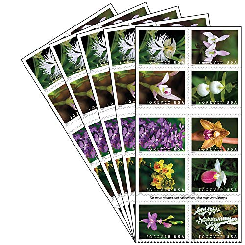 Wild Orchids 5 Books of 20 USPS Postal First Class Forever US Postage Stamps Birthday Wedding Celebration Engagement Anniversary Bridal Shower