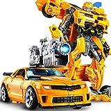 MIAOXI Deformazione Manuale Robot Giocattolo Autobots Modello di Camion per Auto Ragazzi Regalo per Bambini Action Figures con Armi,Bumblebee