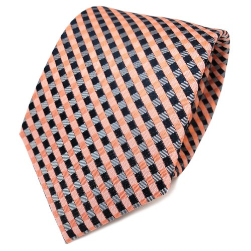 TigerTie Designer Seidenkrawatte orange lachs royal grau kariert - Krawatte Tie