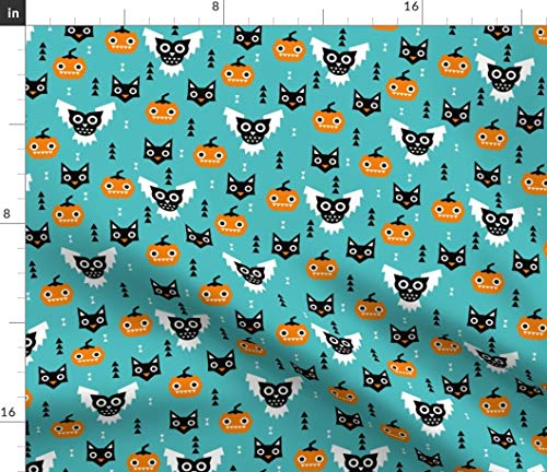 Spoonflower Fabric - Halloween Owls Pumpkins Cats Geometric Illustration Pattern Kids Printed on Petal Signature Cotton Fabric by The Yard - Sewing Quilting Apparel Crafts Decor