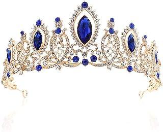 Dongyu Corona, Strass Matrimonio Fascia Sposa Tiara Festa Spettacolo Parrucchieri (Color : Blue)