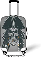 AngelDOU Luggage Suitcase Elastic Protective Covers Pirate Cruel Evil Dead Man Skull Corsair with Rasta Hair and Iconic Hat Filibuster Decorative Grey Black White for men women travel business.